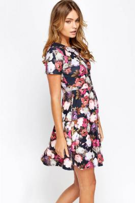 Collard Floral Skater Dress (Cart Option 1)